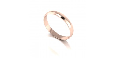 9ct Red D Shape Wed Band- 3mm Light weight.