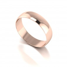 9ct Red 5MM Light Weight D Shape Wed Band.
