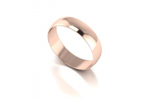 9ct  Red D Shape Wed Band- 5mm Light Weight