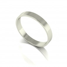 9ct White Gold 3mm Light Weight Flat Shape Wedding Band.