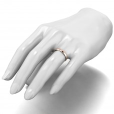 "18ct Red 3MM Light Weight ""D Shape"" Wedding Band"