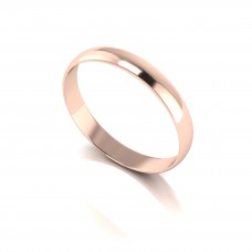 18ct Red 3MM Light Weight D Shape Wed Band.