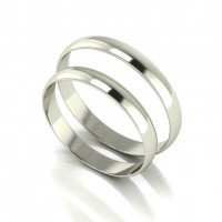 18CT White Ladies and Gents 3MM Light Weight D Shape Wedding Bands