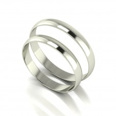 18CT White 3MM Wedding Bands Set.