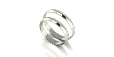 "18ct White Gold ""D Shape"" Wedding Band Set- 3mm Lightweight."