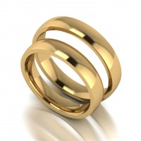 18ct Yellow 4mm Light Weight Court Shape Wedding Band Set.