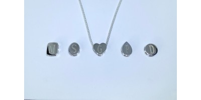 A Choice of Sliding Pendants with Initials & Chain