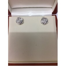 Sterling Silver Rose Stud Earrings.