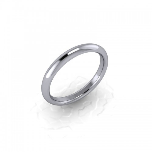 Ladies Plain 18ct White Gold Wedding Ring - 2.5mm Traditional Court - Price From £280