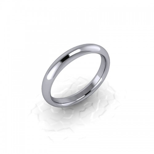 Ladies Plain 9ct White Gold Wedding Ring - 3mm Traditional Court - Price From £165