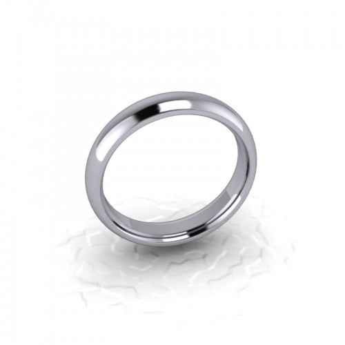 Ladies Plain 18ct White Gold Wedding Ring - 4mm Traditional Court - Price From £390