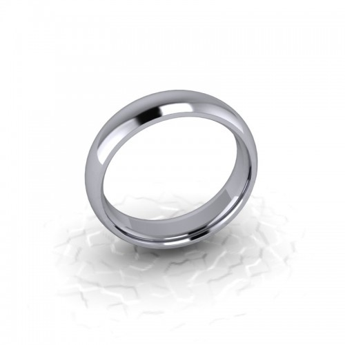 Mens Plain 9ct White Gold Wedding Ring - 5mm Traditional Court - Price From £250