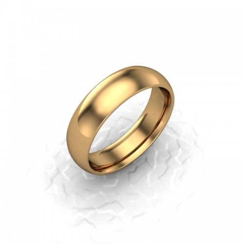 Mens Plain 9ct Yellow Gold Wedding Ring - 6mm Traditional Court - Price From £295