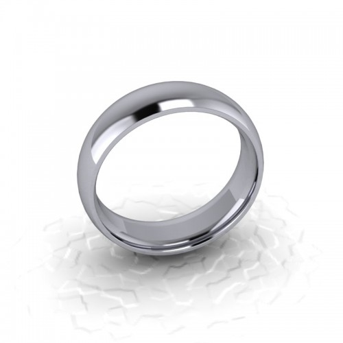 Mens Plain 18ct White Gold Wedding Ring - 6mm Traditional Court - Price From £595