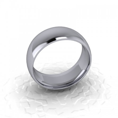 Mens Plain Platinum Wedding Ring - 8mm Traditional Court - Price From £850