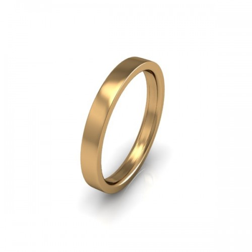 Ladies Plain 9ct Yellow Gold Wedding Ring - 2.5mm Flat Court - Price From £150