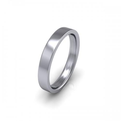 Ladies Plain 18ct White Gold Wedding Ring - 3mm Flat Court - Price From £325