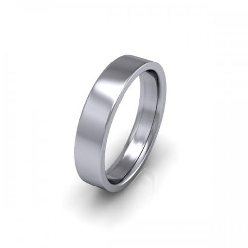 Ladies Plain 18ct White Gold Wedding Ring - 4mm Flat Court - Price From £405