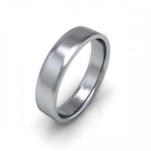 Mens Plain 18ct White Gold Wedding Ring -  5mm Flat Court - Price From £575