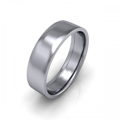 Mens Plain 18ct White Gold Wedding Ring - 6mm Flat Court  - Price From £645