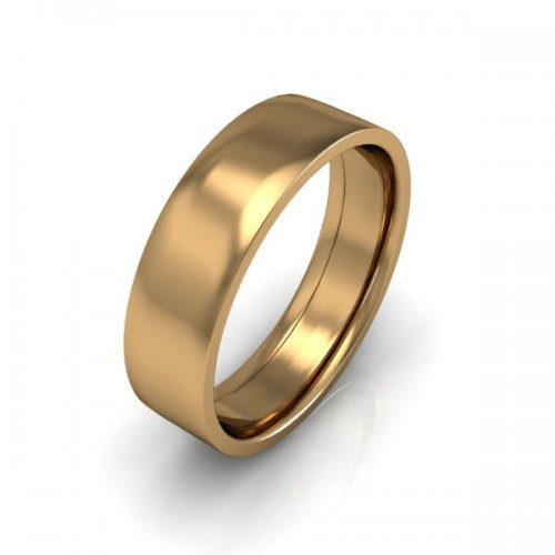 Mens Plain 18ct Yellow Gold Wedding Ring - 6mm Flat Court - Price From £545