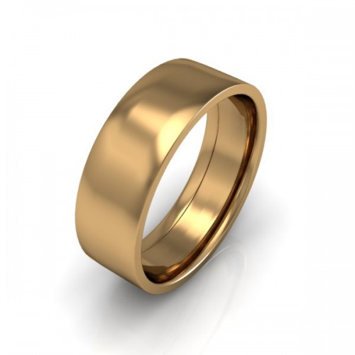 Mens Plain 9ct Yellow Gold Wedding Ring - 8mm Flat Court - Price From £345