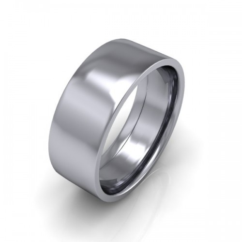 Mens Plain 18ct White Gold Wedding Ring - 8mm Flat Court - Price From £745
