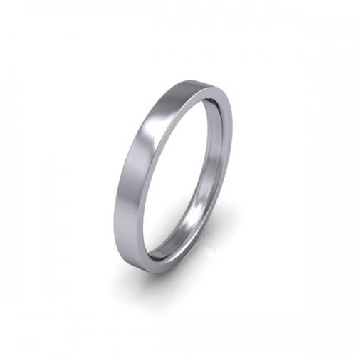 Ladies Plain 9ct White Gold Wedding Ring - 2.5mm Flat Court - Price From £160