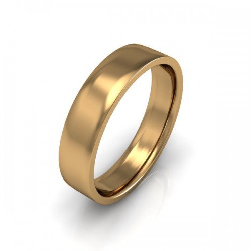 Mens Plain 18ct Yellow Gold Wedding Ring - 5mm Flat Court - Price From £475