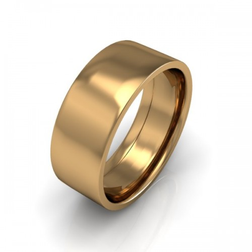 Mens Plain 18ct Yellow Gold Wedding Ring - 8mm Flat Court - Price From £650