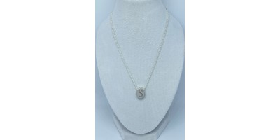 oval pendant with initial & chain