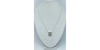 rectangle pendant with initial & chain