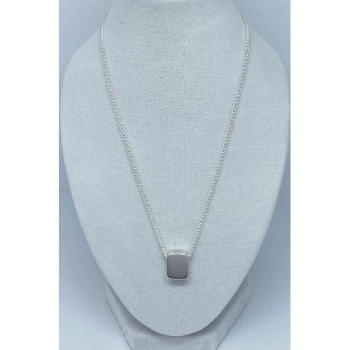 Silver Rectangle Shaped Slider Pendant