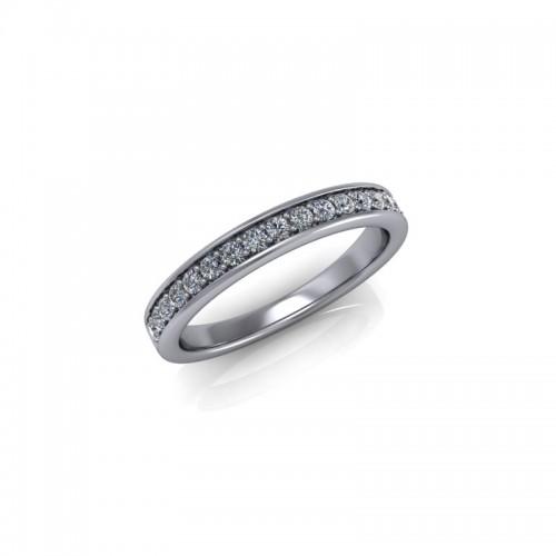 18ct White Gold 0.25ct Diamond Pave Set Wedding Ring