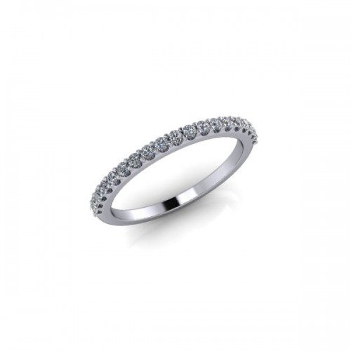 18ct White Gold 0.20ct Diamond Claw Set Wedding Ring