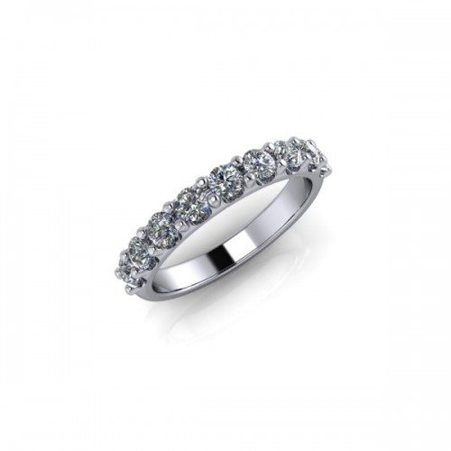 9ct White Gold 0.75ct Diamond Claw Set Wedding Ring