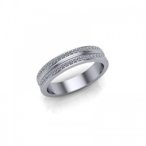 Platinum 0.25ct Diamond Pave Set Wedding Ring