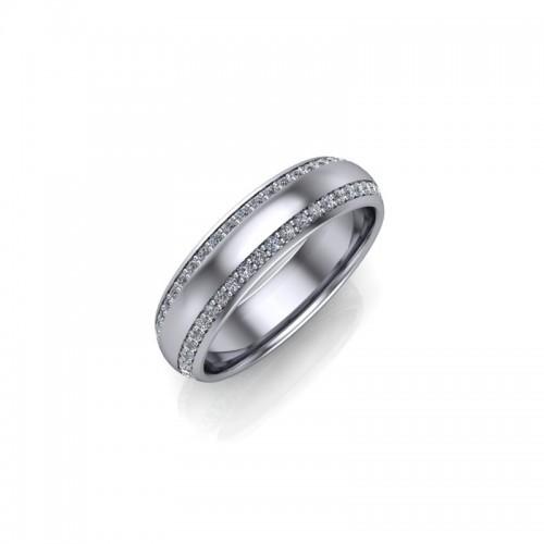 Platinum 0.33ct Diamond Pave Set Wedding Ring