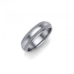 9ct White Gold 0.33ct Diamond Pave Set Wedding Ring