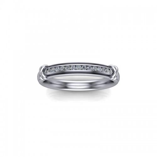 Hallie - Ladies 18ct White Gold 0.10ct Diamond Channel Set Wedding Ring