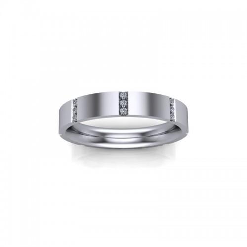 9ct White Gold 0.10ct Diamond Fancy Channel Set Wedding Ring
