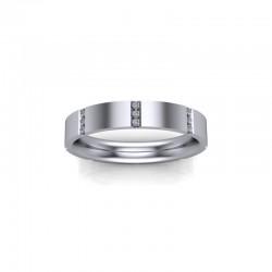 18ct White Gold 0.10ct Diamond Fancy Channel Set Wedding Ring