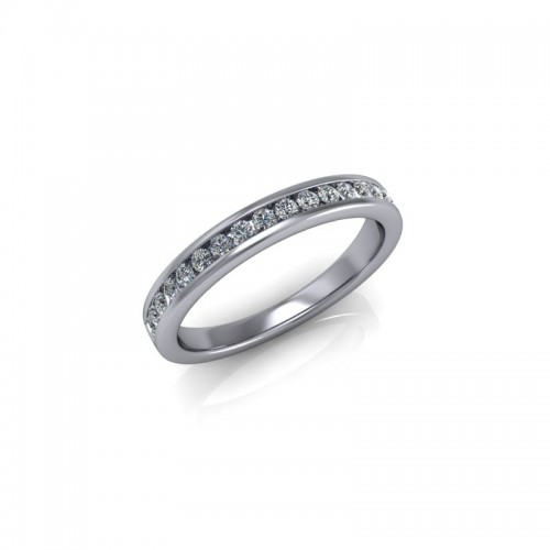 Platinum 0.25ct Diamond Channel Set Wedding Ring