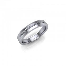 9ct White Gold Diamond Channel Set Wedding Ring