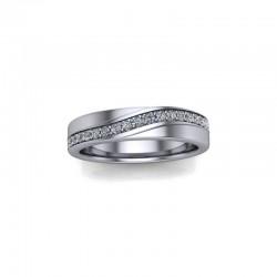 Platinum 0.15ct Diamond Pave Set Wedding Ring