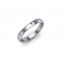 9ct White Gold 0.10ct Diamond Set Wedding Ring
