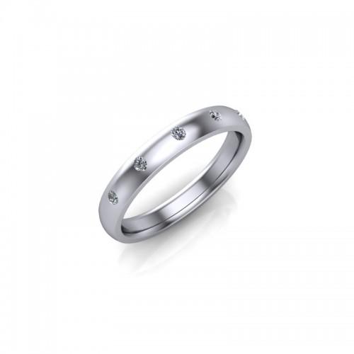 9ct White Gold 0.10ct Diamond Set Wedding Ring