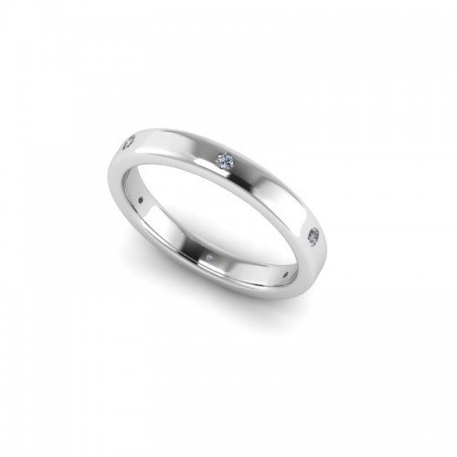 Platinum 0.10ct Diamond Set Wedding Ring