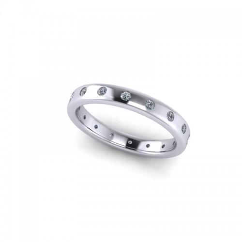 18ct White Gold 0.25ct Diamond Set Wedding Ring