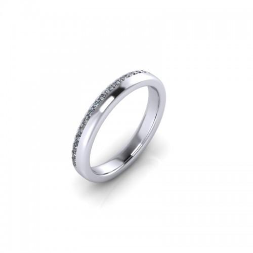 18ct White Gold 0.20ct Diamond Pave Set Wedding Ring